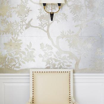 Silver Asian Scenic Wallpaper, Transitional, Dining Room, Carrie Hatfield Interior Design