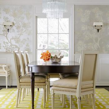 Hand Painted Silver Chinoiserie Wallpaper, Transitional, Dining Room, Carrie Hatfield Interior Design