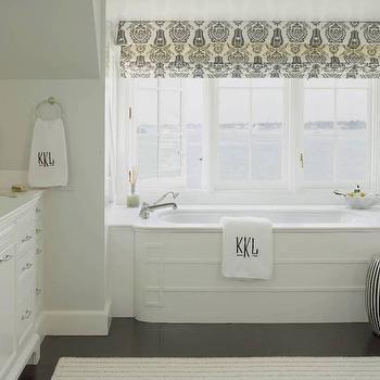 Black and White Damask Roman Shade, Transitional, Bathroom, Ken Gemes Interiors