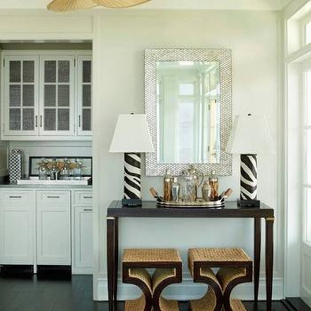 Zebra Table Lamps, Transitional, Dining Room, Ken Gemes Interiors