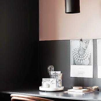 Blush Pink and Black Office, Transitional, Den/library/office, Hitta Hem