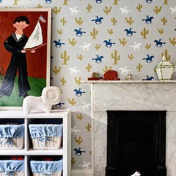 Cactus Cowboy Wallpaper, Contemporary, Boy's Room, DHD NYC