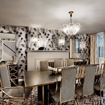 Black and White Dining Chairs, Hollywood Regency, Dining Room, DHD NYC