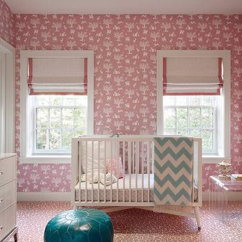 Pink Nursery Wallpaper, Transitional, Nursery, DHD NYC