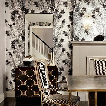 Florence Broadhurst Peacock Feathers Wallpaper, Hollywood Regency, Dining Room, DHD NYC