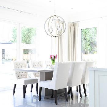White Wingback Dining Chairs, Transitional, Dining Room, Enviable Designs