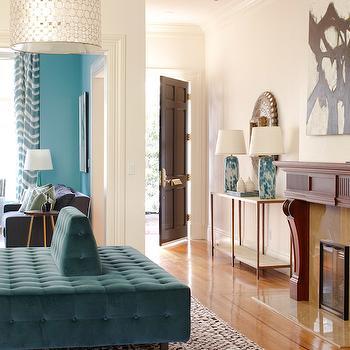 Peacock Blue Velvet Bench, Contemporary, Entrance/foyer, Massucco Warner Miller