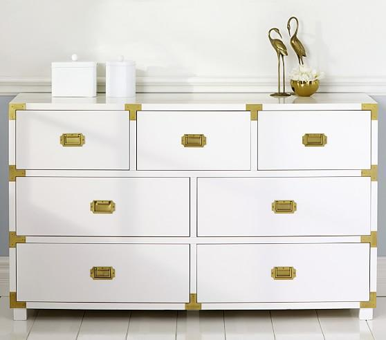 Gemma Campaign Dresser Extra Wide White Dresser
