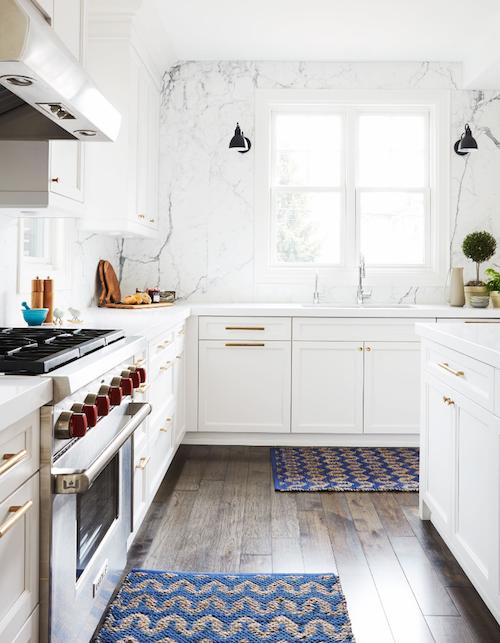 full height marble backsplash contemporary kitchen