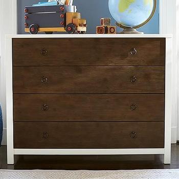 Jordan Dresser, White with Brown Drawers Dresser