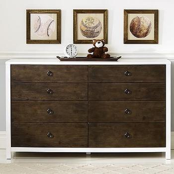 Jordan Extra, White with Brown Drawers Dresser, Wide Dresser
