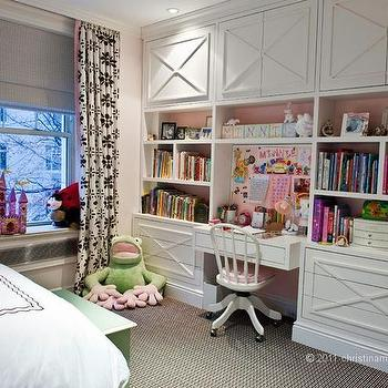 Kids Room with Built In Desk, Transitional, Girl's Room, Christina Murphy Interiors