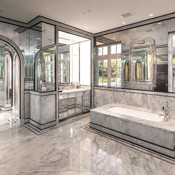 Antiqued Mirrored Walls Contemporary Bathroom