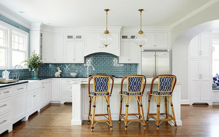 Kitchen With Blue Subway Tiles Transitional Kitchen
