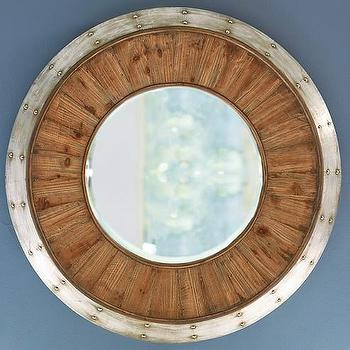 Wood Metal Round Mirror