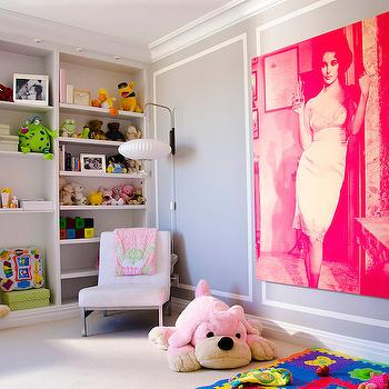 Pink and Gray Playroom, Contemporary, Girl's Room, Vogue