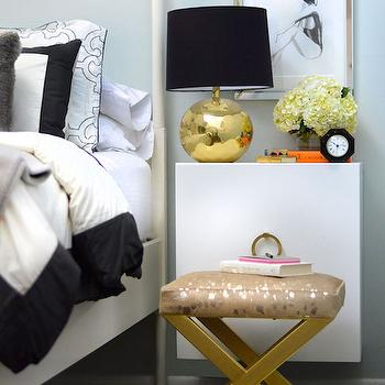 Gold X Bench, Contemporary, Bedroom, Confetti and Stripes