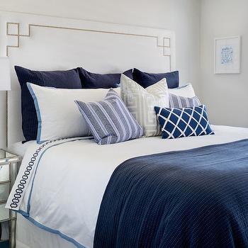 White Headboard with Greek Key Trim, Transitional, Bedroom, Lauren Christine Henno