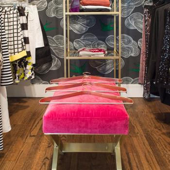 Hot Pink Velvet X Bench, Contemporary, Closet, Krystine Edwards