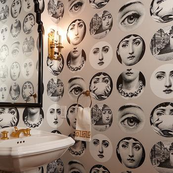 Fornasetti Wallpaper, Contemporary, Bathroom, Massucco Warner Miller