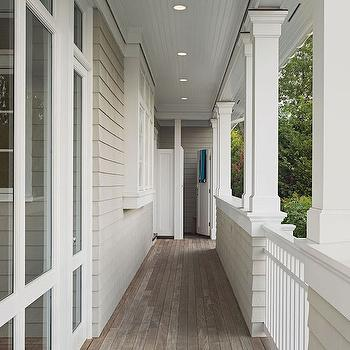 Wraparound Porch with Outdoor Shower, Cottage, Deck/patio, Dearborn Cabinetry