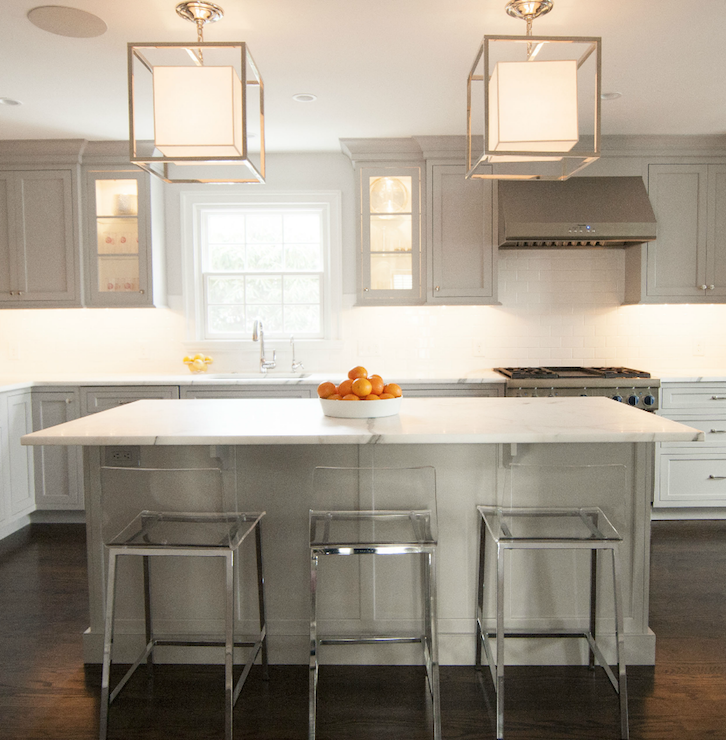 White Kitchen Cabinets With Gray Countertops: Gray Kitchen Cabinets With White Marble Countertops
