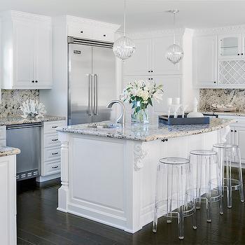 White Kitchen Cabinets with Tan Granite Countertops, Transitional, Kitchen, Lauren Christine Henno