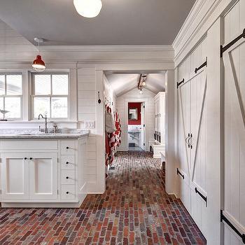 Laundry Room with Brick Floor, Country, Laundry Room, John Hummel