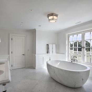 Oval Marble Tub, Transitional, Bathroom, John Hummel