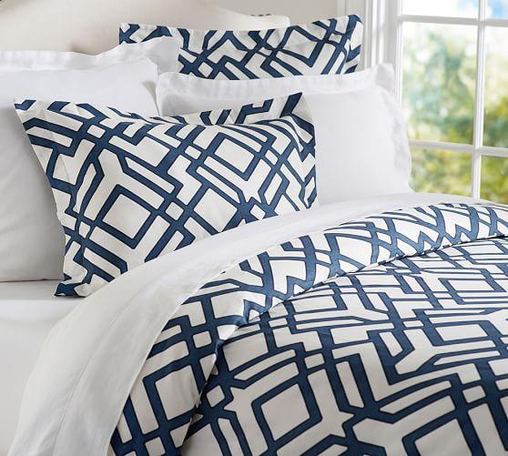 Shelby Geo Duvet Sham Geometric Blue And White Duvet