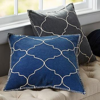 Tile Embroidered Pillow Cover