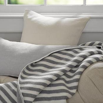 Tomales Stripe Throw, White and Gray Throw