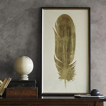 Gold Leaf Feather Wall Art