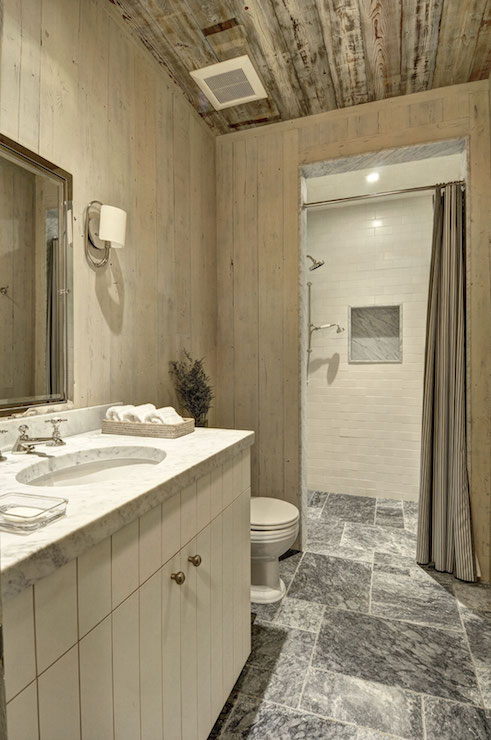 Bathroom With Barn Board Ceiling Country