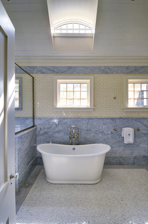 Cream Mini Subway Tiles - Cottage - Bathroom - John Hummel