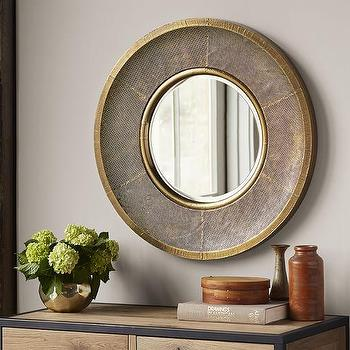 Round Clad Print Mirror