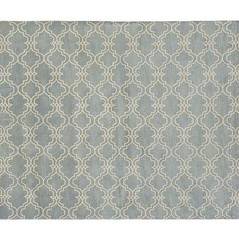 Scroll Tile Rug, Porcelain Blue