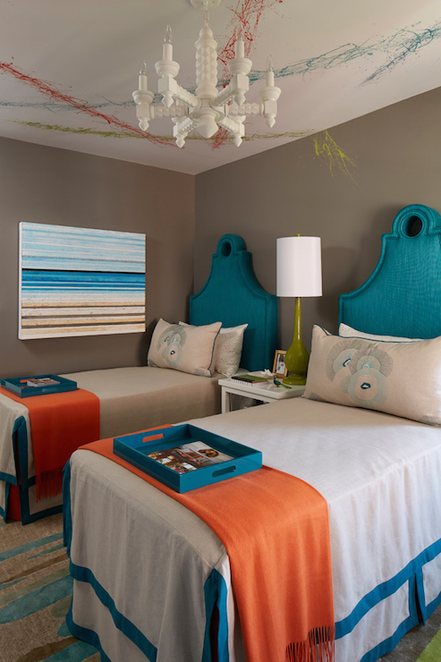 Turquoise Keyhole Headboards Contemporary Bedroom C2
