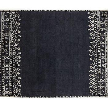 Desa Bordered Wool Rug, Indigo Blue