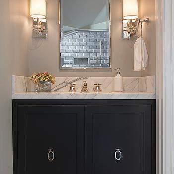 Black Bathroom Vanity with Ring Pulls, Transitional, Bathroom, Artistic Designs for Living