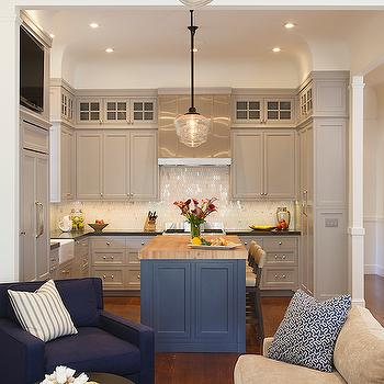 Blue Kitchen Island with Maple Butcher Block, Transitional, Kitchen, Artistic Designs for Living