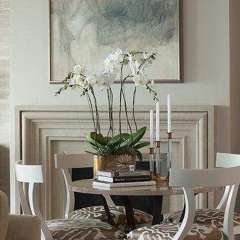 Limestone Fireplace, Transitional, Dining Room, James Thomas Chicago