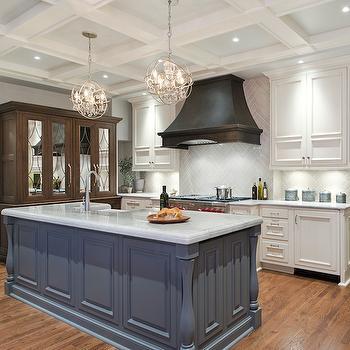 Gray Herringbone Tiles, Transitional, Kitchen, Benjamin Moore Kendall Charcoal, Kitchen Studio KC