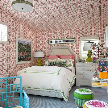 Kids Room with Wallpaper on Ceiling, Contemporary, Girl's Room, Traditional Home