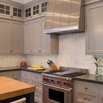 Oval Marble Backsplash, Transitional, Kitchen, Artistic Designs for Living