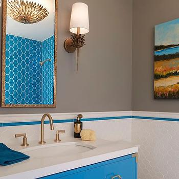 Gray and Turquoise Bathrooms, Contemporary, Bathroom, C2 Wall Street, Artistic Designs for Living