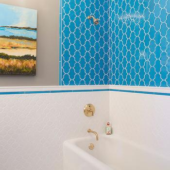 Turquoise lacquer washstand contemporary bathroom - Turquoise bathroom floor tiles ...