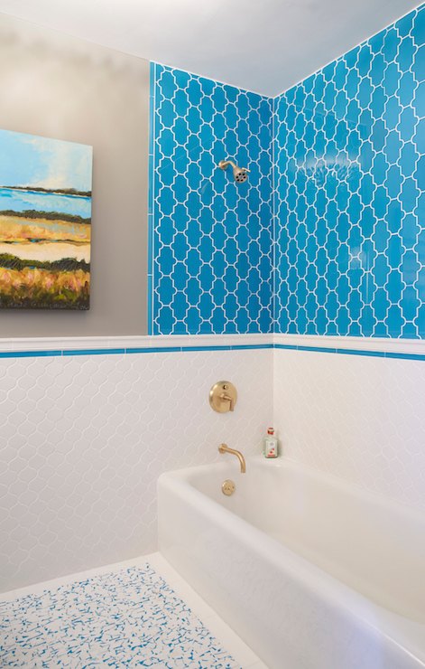 Turquoise Moroccan Tiles Contemporary Bathroom C2