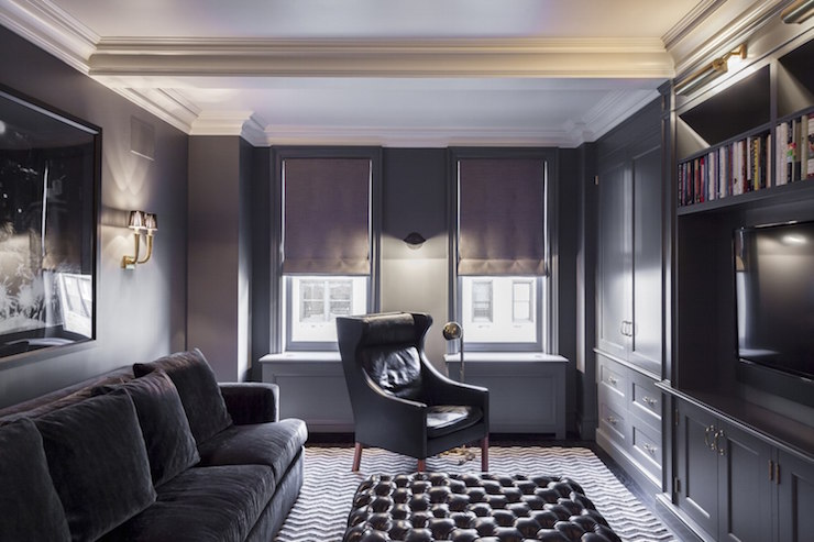 Gray Tv Room Contemporary Living Room Vella Interiors