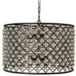 Cassiel Dark Bronze Drum Crystal Chandelier